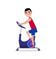 Cartoon man on stationary exercise bike vector