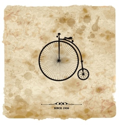 Vintage postcard retro bicycle on grunge vector