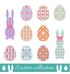 Set of easter eggs and bunnies with spring vector