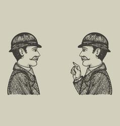 Engraved men vector