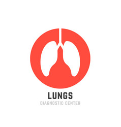 Red lungs diagnostic center logo vector