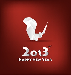 2013 new year greeting card with origami snake vector