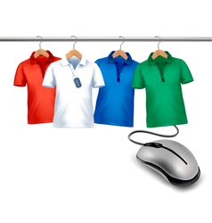Different hangers with shirts and a computer mouse vector