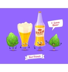 Set of beer characters cute cartoons vector