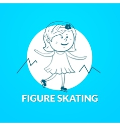 Figure skating logo vector