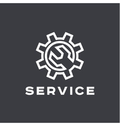 Service auto repair wrench logo sign flat vector image
