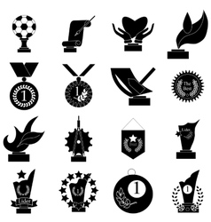 Award icons set simple style vector