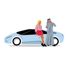 Arab sheikh and a girl model looks near the sports vector image vector image