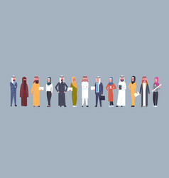arabic people group wearing traditional clothes vector image vector image