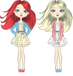 beautiful fashion girls vector image vector image