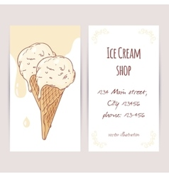 Business card template with hand drawn ice cream vector image