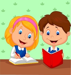 Cartoon Boy and girl study together vector image