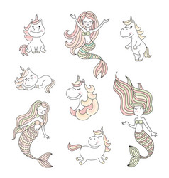Cute little mermaids and magical unicorns set vector