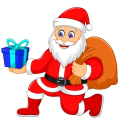 cute santa claus cartoon holding a gift vector image vector image