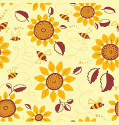 decorative sunflowers with bees seamless pattern vector image vector image