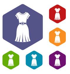 dress icons set hexagon vector image