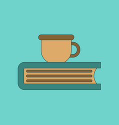 flat icon thin lines book cup vector image vector image
