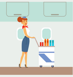 Flight attendant serving drinks on a plane part vector
