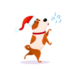 Funny cartoon dancing dog sings xmas character vector