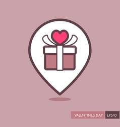 gift box sign pin map icon present with heart vector image vector image