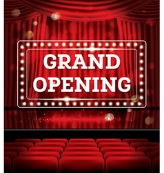 Grand opening open red curtains vector