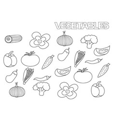 Hand drawn vegetables set coloring book page vector