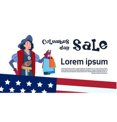 Happy columbus day seasonal holiday sale shopping vector