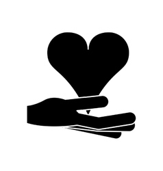 Isolated hand and heart design vector image vector image