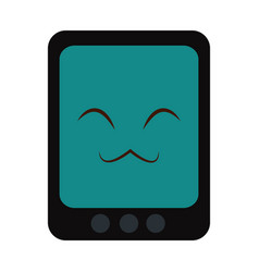 Kawaii tablet device technology icon vector