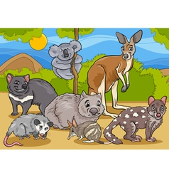 Marsupials animals cartoon vector