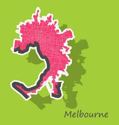 Melbourne australia map in retro style sticker vector