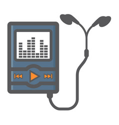 music player colorful line icon mp and device vector image vector image