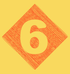 Number 6 sign design template element red vector