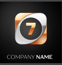 Number seven logo symbol in the colorful square on vector