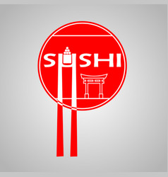 Poster with red circle and sushi bar logo on and vector