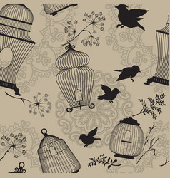 seamless pattern with decorative bird cage black vector image vector image