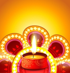 Shiny diwali diya background vector