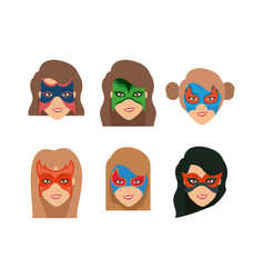 white background set face super hero women with vector image