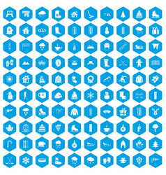 100 winter icons set blue vector