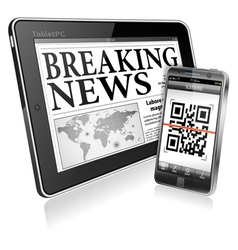 Concept - Digital News on Tablet PC and Smartphone vector image