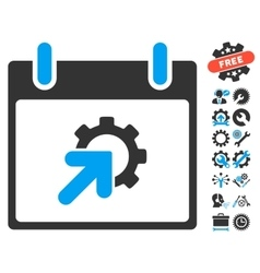 Gear integration calendar day icon with vector