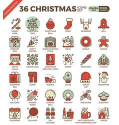 Merry christmas xmas celebration outline icons vector