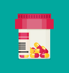 Pill bottle with capsule pills vector