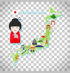 Japan travel map on transparent background vector