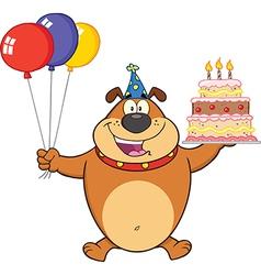 Happy birthday dog cartoon vector image