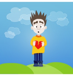 Boy with broken heart in his hands outdoor vector