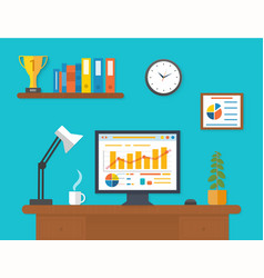 Modern office interior with seo desktop vector