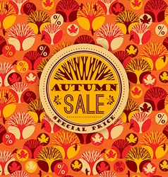 Autumn pattern with sale typography vector