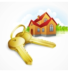 Keys with house on background vector