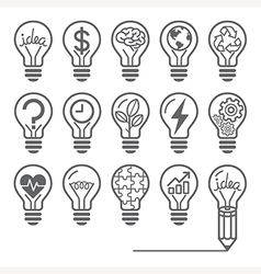 Light bulb concept line icons style vector